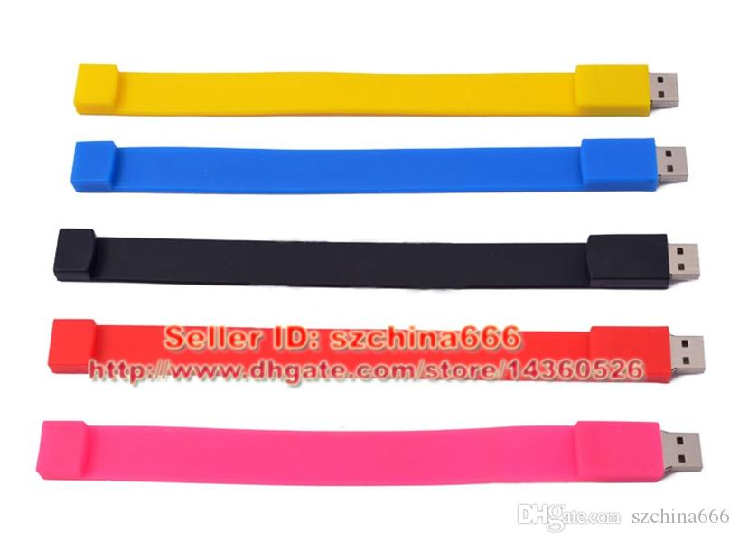 Rubber Wristband 2GB 4GB 8GB 16GB USB Drive Bracelet USB Flash Pen Drives Memory Stick + Box