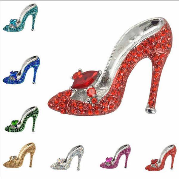 2016 Coréia Nova Listagem Moda Delicado strass sapato Broche De Jóias Por Atacado Pinos broche de 7 cores