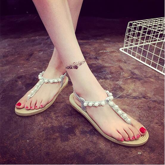 453a85fa7 2016 Summer New Imitation Pearl Beaded Flat Sandals Flower Thong Sandals  Bohemian Fashion Shoes Women Sandals Flats Shoes Fashion Slippers Online  with ...