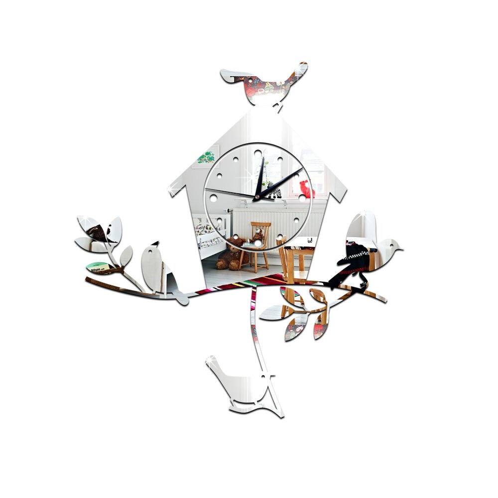 fashion 3d diy bird house mirror wall clock modern design watch fashion 3d diy bird house mirror wall clock modern design watch wall sticker children s room home decoration floor clocks french wall clock from qinfenglin