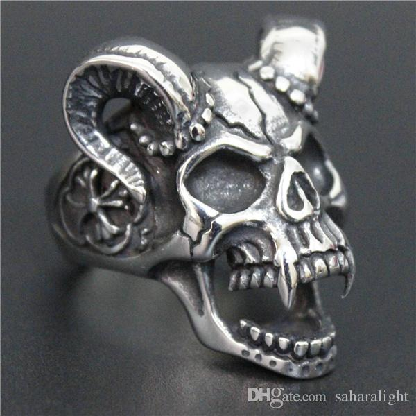 and rings european ghost evil american skull ring punk men item motor hand skeleton biker cz style