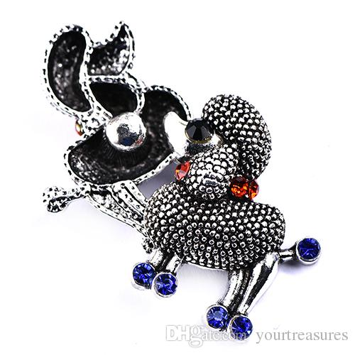 Cute Crystal Dog Button 18mm Button Snap Charms Jewelry Interchangeable Jewerly Charms Pendants Necklace 2018