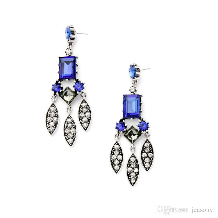 2018 2016 Pave Alloy Leaf Chandelier Earrings Sapphire Rectangle ...