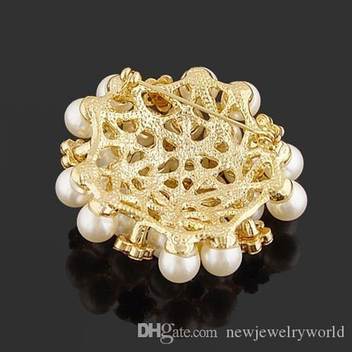 Hot Selling High Quality Imitation Pearl Flower Pins Brooches B028 Sparkling Clear Crystal Bridal Bouquet DIY Brooch For Wedding Women Gift