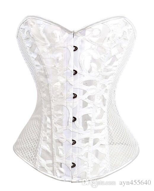 New Sexy Traje Burlesque Impressão Malha Espartilho Bustier Cintura Cincher Top Preto branco Clor e Cor Branca disponível frete grátis