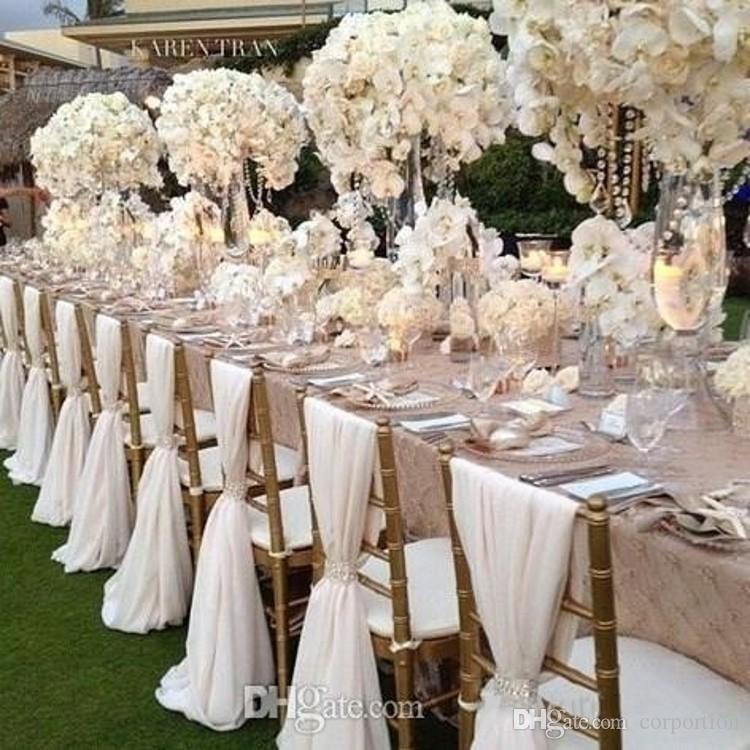 2016 White Wedding Chair Covers Chiffon Material Custom Made 18 M