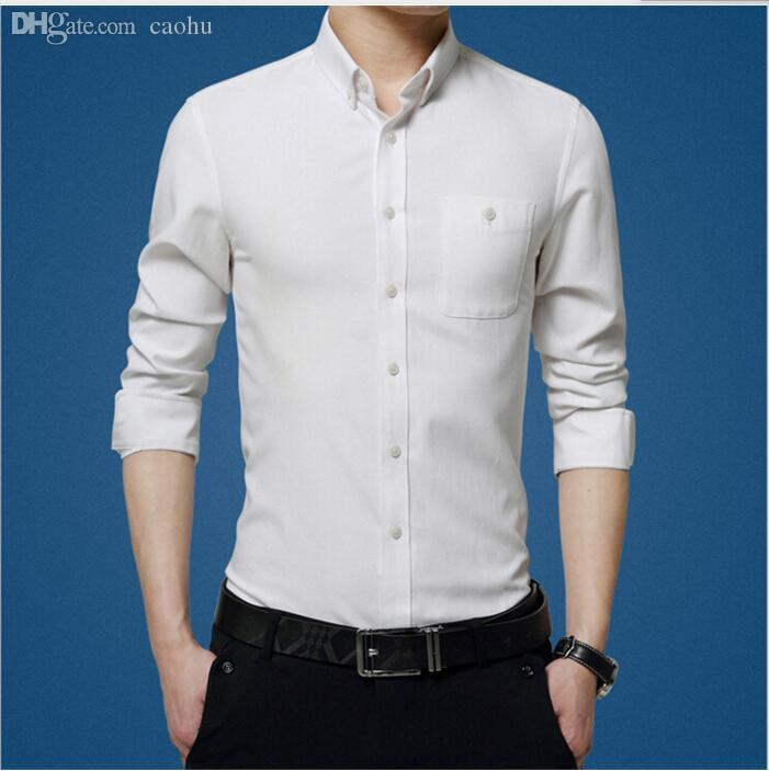 b15dae3d Wholesale-In 2016 the latest design elegant pure white men's business  casual shirt show thin men formal occasions shirt