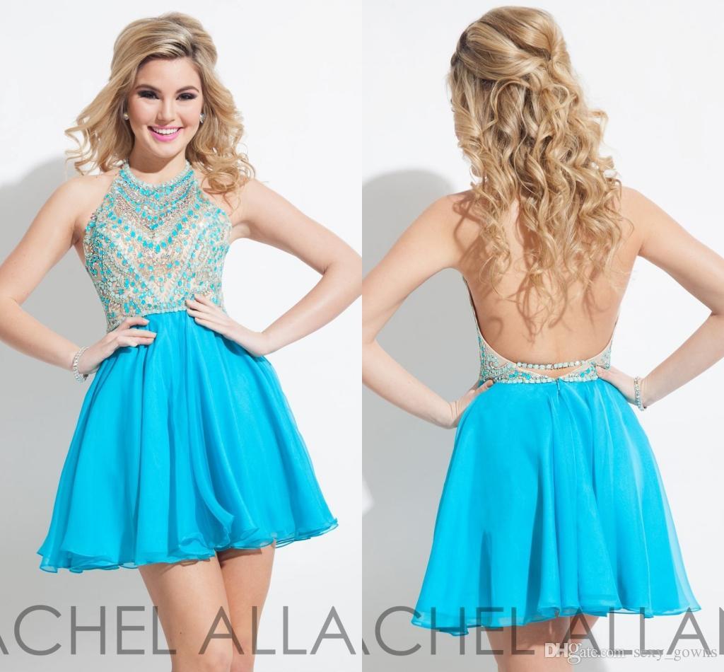 Rachel Allan Sky Blue Short Prom Dresses Beaded Gowns Halter Neck ...