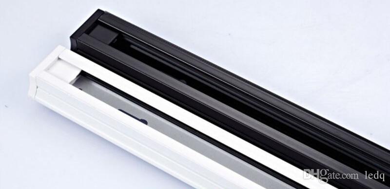 1m carril de la vía 3 accesorios de alambre conectores de seguimiento accesorios de aluminio universales para luces de techo en el techo LED iluminación abajo de la lámpara blanco negro