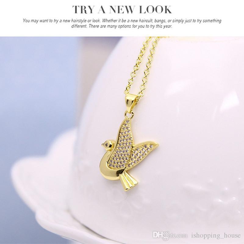 Nuevo conjunto de joyas con encanto 18 K oro amarillo plateado claro CZ pequeño pájaro pendientes collar anillo conjunto de joyas para niñas mujeres bonito regalo