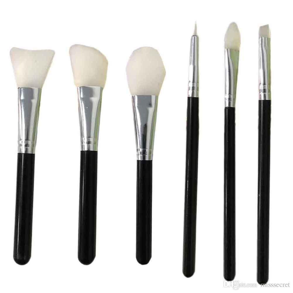 6 adet / takım Benzersiz Makyaj Silikon Fırça Maskesi Kaş Eyeliner Dudak Fırçalar Seti Kozmetik Makyaj Fırça Seti Silikon Fırçalar Aracı Kiti DHL ...