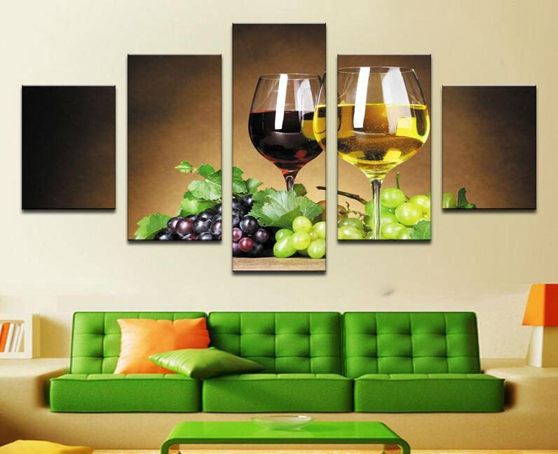 home decoration 5 piece Wine cups pictures canvas oil painting on wall art for living room print decor cheap modern F/1775