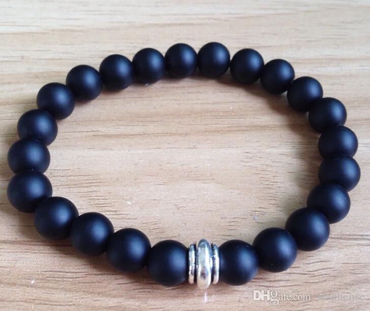 SN0041 Designer 8mm Naturstein Tigerauge Türkis Onyx Schwarz Perlen Herren Armband mit Legierung Perle