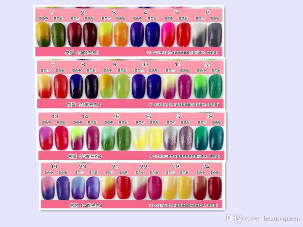 * Perfect Match MOOD * Changing Color Gel Polish Soak Off UV Led Chameleon Nail Gel Polish Color changed by Temperature Difference