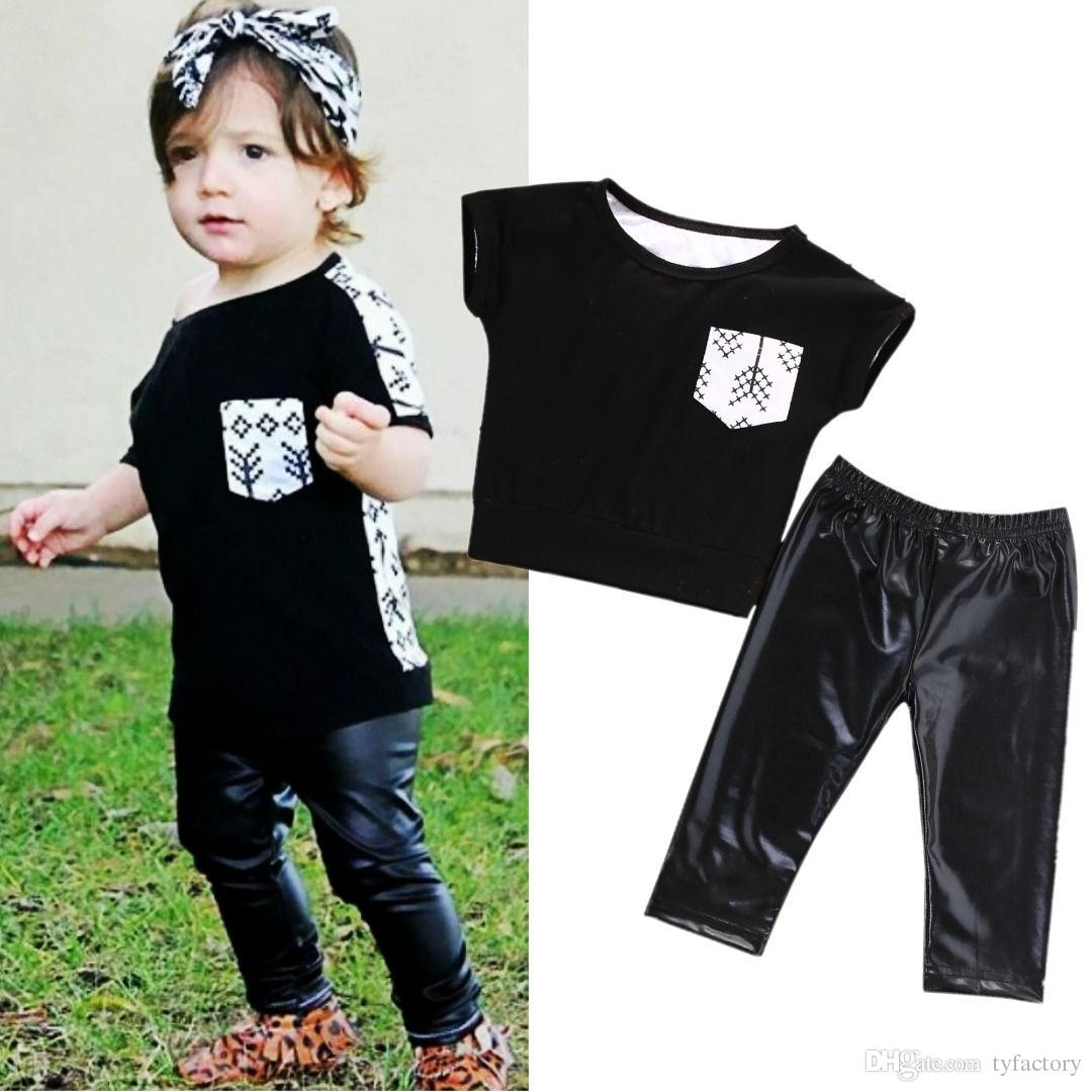 67d920a9c 2019 Cool Black Boys Suits Toddler Kids Baby Girls Outfit Clothes ...