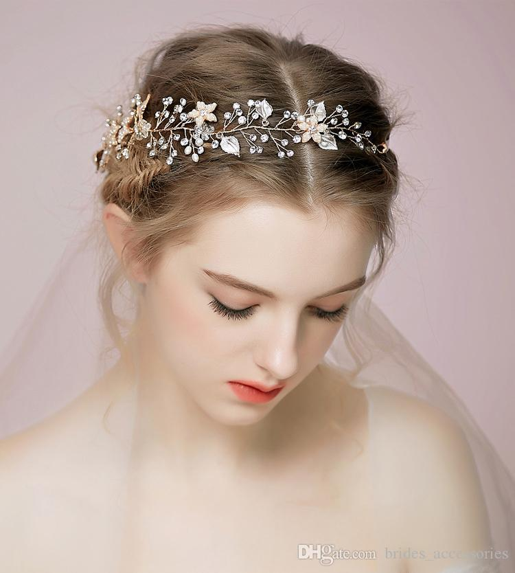 Cheap Wedding Hair Vines For Brides Tiaras Bridal Accessories Hair Combs For Weddings Headband Bridal Hair Vines Handmade High Quality