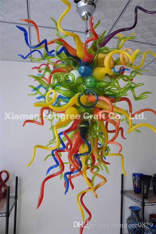 C02-Pretty Colored Glass Chandelier 100% hecho a mano de vidrio soplado por encargo de vidrio colgante de fábrica de fábrica en China
