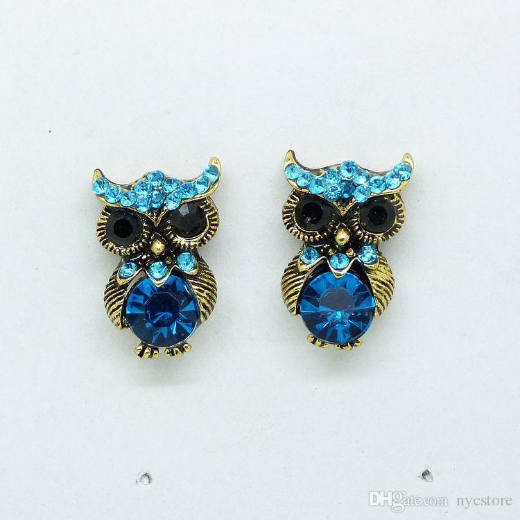 Mavi Baykuş Kristal Küpe vintage rhinestone serin baykuşlar küpe çıtçıt