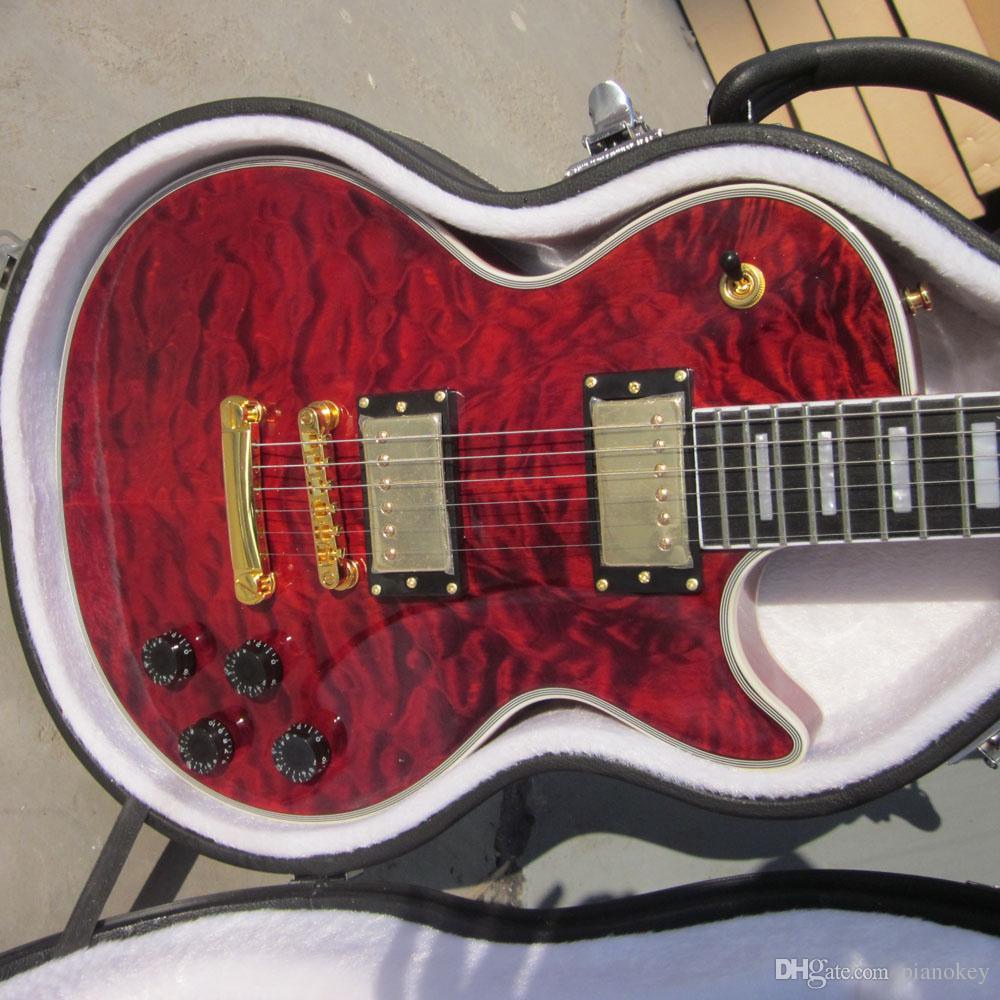 Custom Gitarrenladen, Weinrot gesteppte Top benutzerdefinierte E-Gitarre, Ebenholz Griffbrett, Gold-Hardware, Wachs vergossen Pickups Gitarren