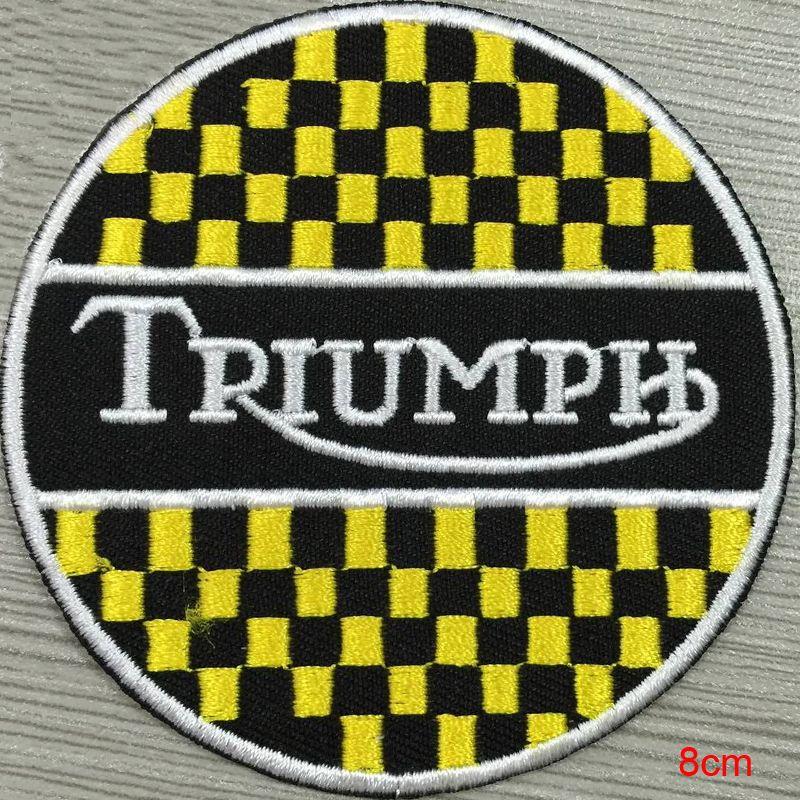 Triumph Silver Metallic Custom Logo Patch Iron On Cloth Hat Or Bag