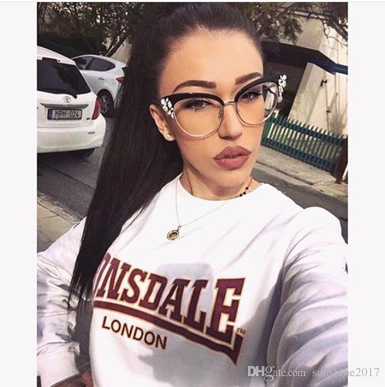 Retro gözlük rhinestones kristaller ile kedi göz temizle lens Yarım Çerçeve gözlük çerçeve kadınlar sahte gözlük miyopi gözlükler optik çerçeve