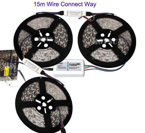 20m 15m 10m 5m 24V RGB LED flexibles Streifen-Licht 5050 wasserdichter Reel Rope + RF Touch-Fernbedienung Stromversorgung Adapter + Mini-Verstärker