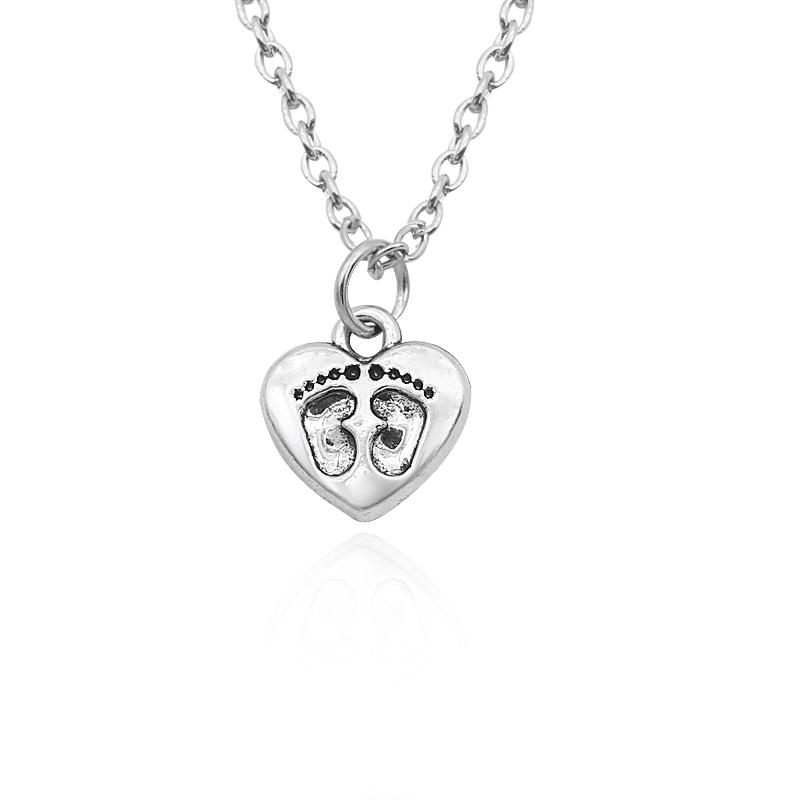 Wholesale trendy heart footprint pendant necklaces diy handmade wholesale trendy heart footprint pendant necklaces diy handmade cute baby footprints charm pendants necklace for women girls jewelry owl pendant necklace mozeypictures Gallery
