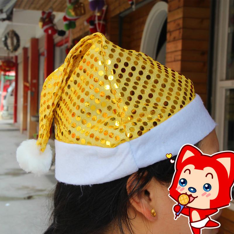 2016 Christmas Santa Claus hats Paillette New year party cosplay hat 29*35cm Cute adults Christmas cap ornament Supplies Gold purple