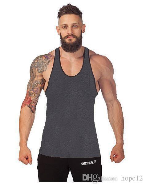 Factory venda direta! 12 cores de Algodão Stringer Musculação Equipamentos de Fitness Ginásio Top de camisa Sólida Singlet Y de Volta roupas de Desporto colete