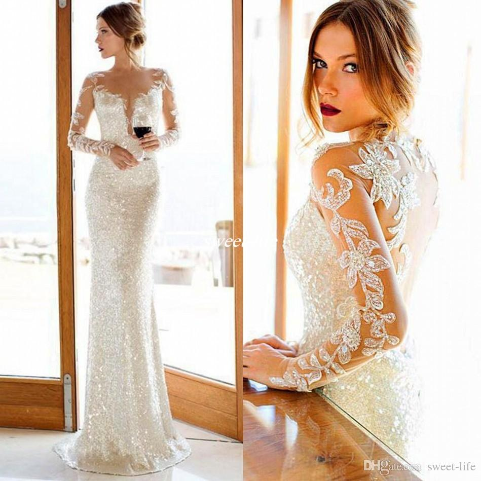 New 2017 Nurit Hen Sparkly Sequined Sheath Wedding Dresses With Plunging V Shape Cut And Sheer Crew Neck Long Sleeves Bridal Reception Gowns Designer
