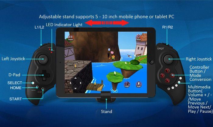 New ipega pg-9023 Telescopic Wireless Bluetooth Gamepad Gaming Controller Game Pad Joystick for Android Phones Windows PC Pad Black