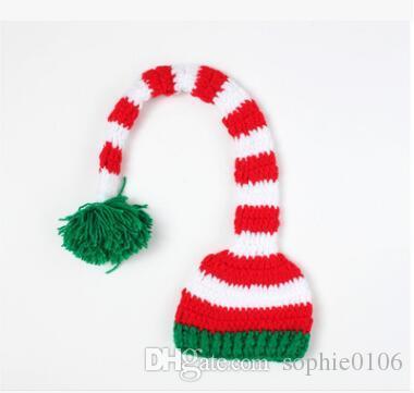 عيد الميلاد الطفل الأخضر الأحمر ذيل طويل بوم بوم قبعة 2016 الوليد الطفل قبعات الاطفال ذيل طويل handknit القبعات الهالووين الكروشيه قبعات cd 001