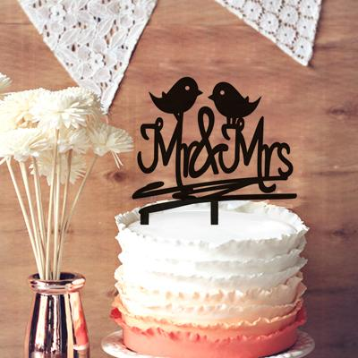 Rustic Wedding Cake Topper, Mr And Mrs With Love Birds Wedding Cake ...