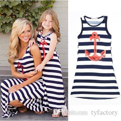 2016 top fashional style girls navy anchor sleeveless striped dresses children kids sequined blue white stripes party vestidos
