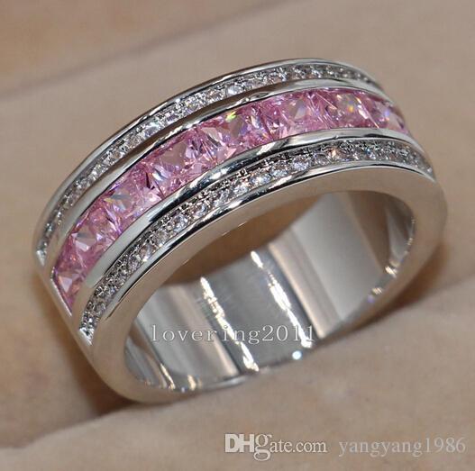 Оптовая-Принцесса вырезать роскошный хороший розовый сапфир Diamonique 10kt белого золота заполнены женщины имитация Алмаз свадьба обручальное кольцо Пандора