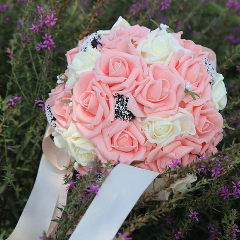Romantic Wedding Bouquets: Online Cheap Pink Elegant Bridal Wedding Bouquet Plastic