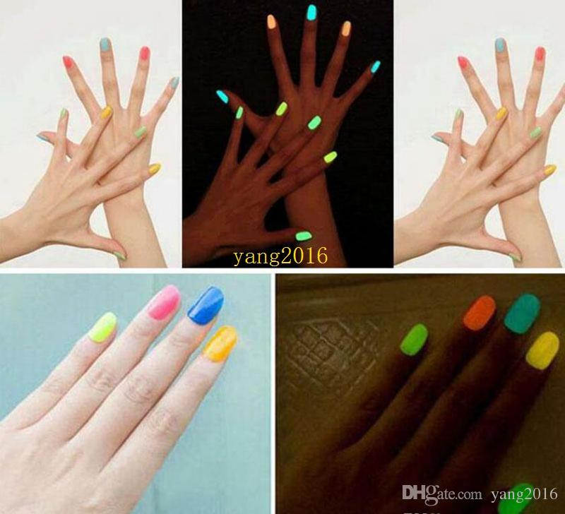 free shippingSell 20 Candy Color Fluorescent Neon Luminous Gel Nail Polish for Glow in Dark Nail Varnish Manicure Enamel For Bar Party