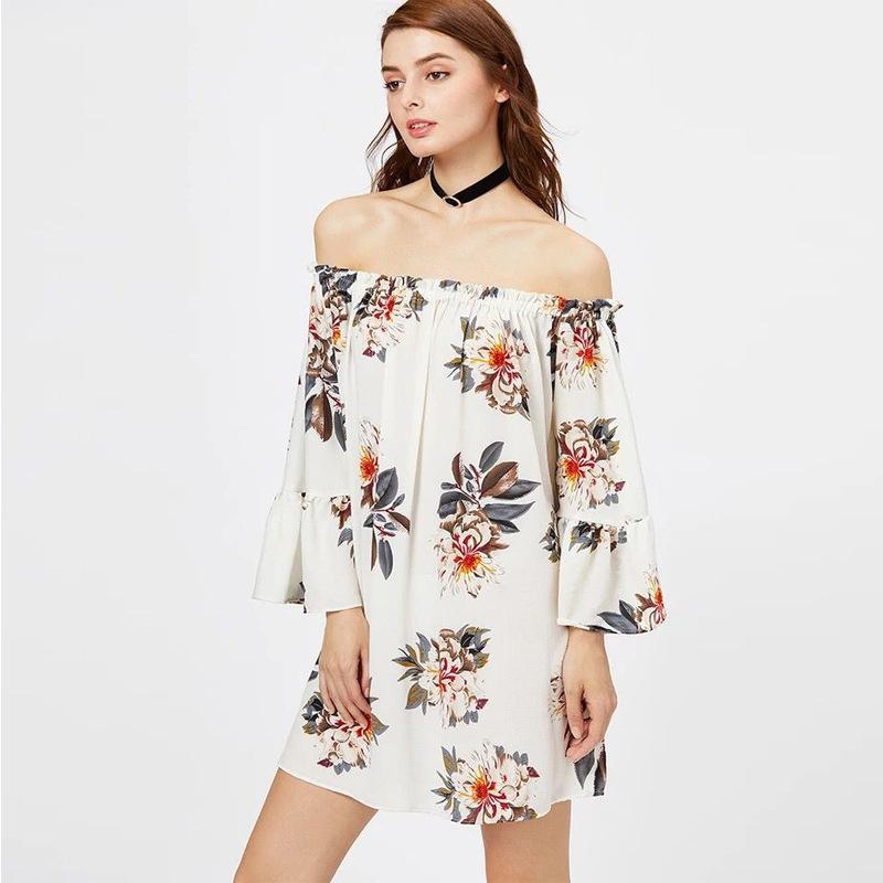 8fee93c3a652 Women Dress Plus Plus Size Dresses Women European And American New Type Of  Flared Neck Sleeve Loose Print Dress Black Ladies Dress Ladies Dressed From  ...