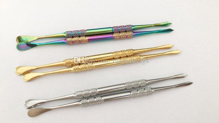 121mm Rainbow Gold Cor De Aço Inoxidável Dabber Ferramenta de Cera Ferramenta para erva seca vaporizador caneta Globo De Vidro Atomizador