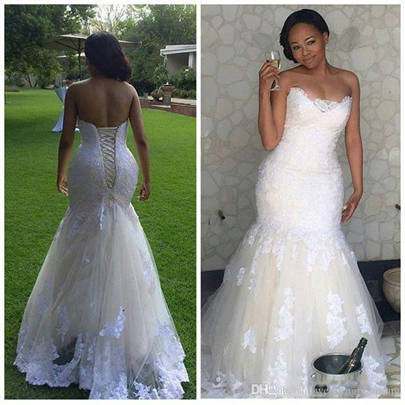 Arabic Style Lace Vintage Mermaid Wedding Dresses 2018 Backless Sexy Fat Bridal Gowns with Lace up Cheap Sweetheart Appliques tulle dress