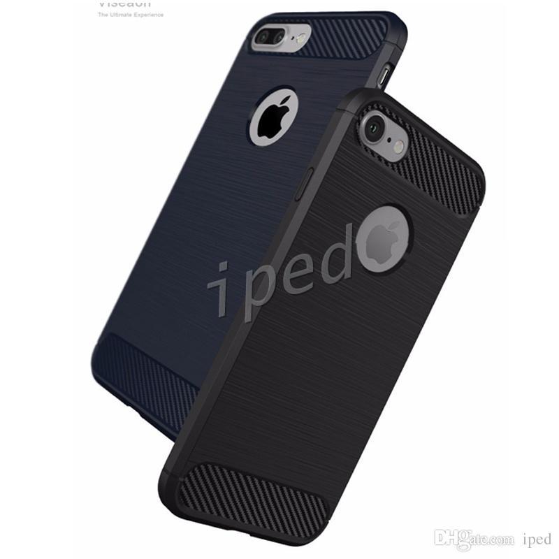 Robusto Armadura híbrido de fibra de carbono TPU à prova de choque Hard Cover Caso Combo Textura escovada da pele para o iphone 7 mais i6 i5 samsung S7 cores de borda 50