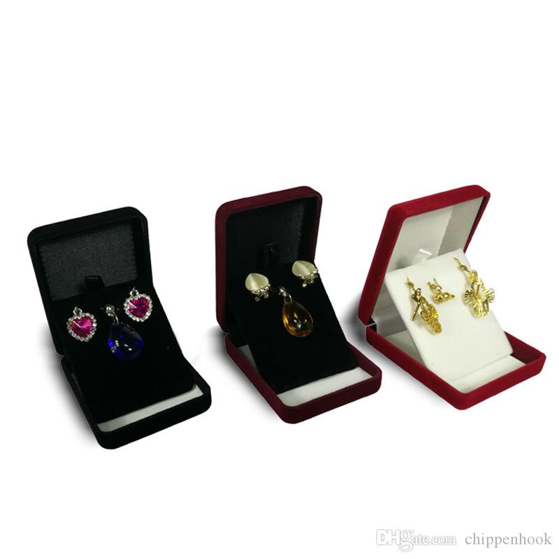 rettangolo caso di esposizione dei monili i Velvet Orecchino Storage Box regalo dell'organizzatore Collana Holder Gift Box