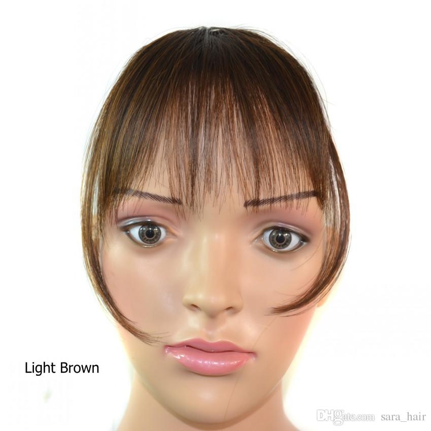 Sara Shuangbin Bang Clipe em Franja Franja Frange Franja Castanha Negra Franja Franja Extensões de Cabelo Sintético Hairpiece peruca