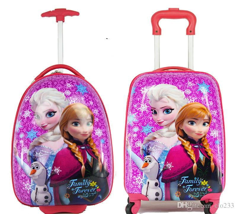 2016 Hot Cartoon Frozen Cars Kids Rolling Luggage Children Trolley ...