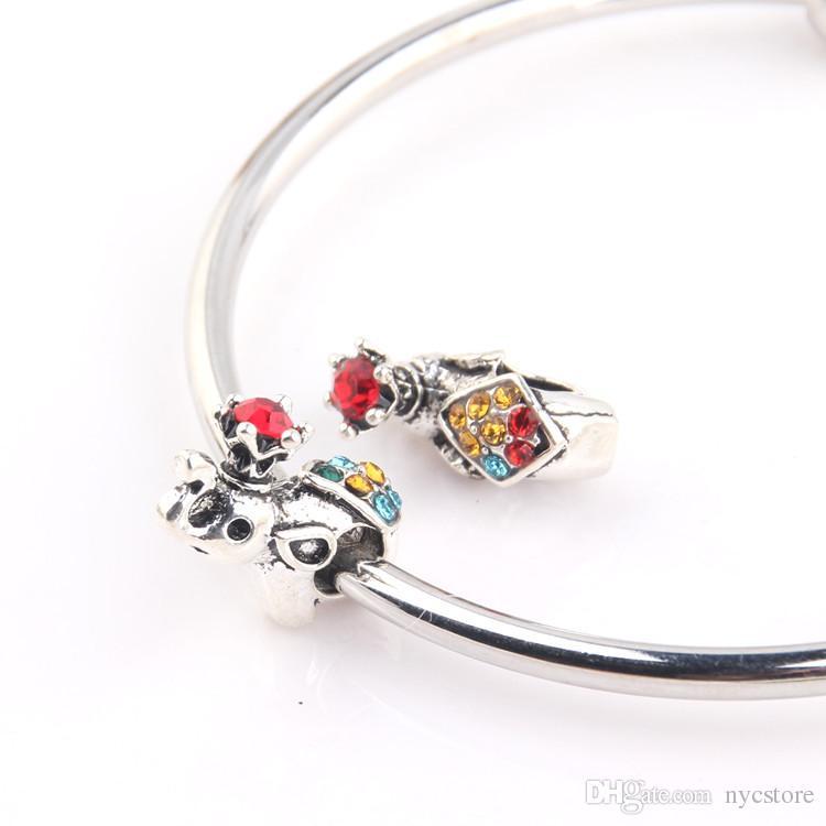 gros 5mm trou perles d'éléphant cristal charme perles convient bracelets de charme style Pandora