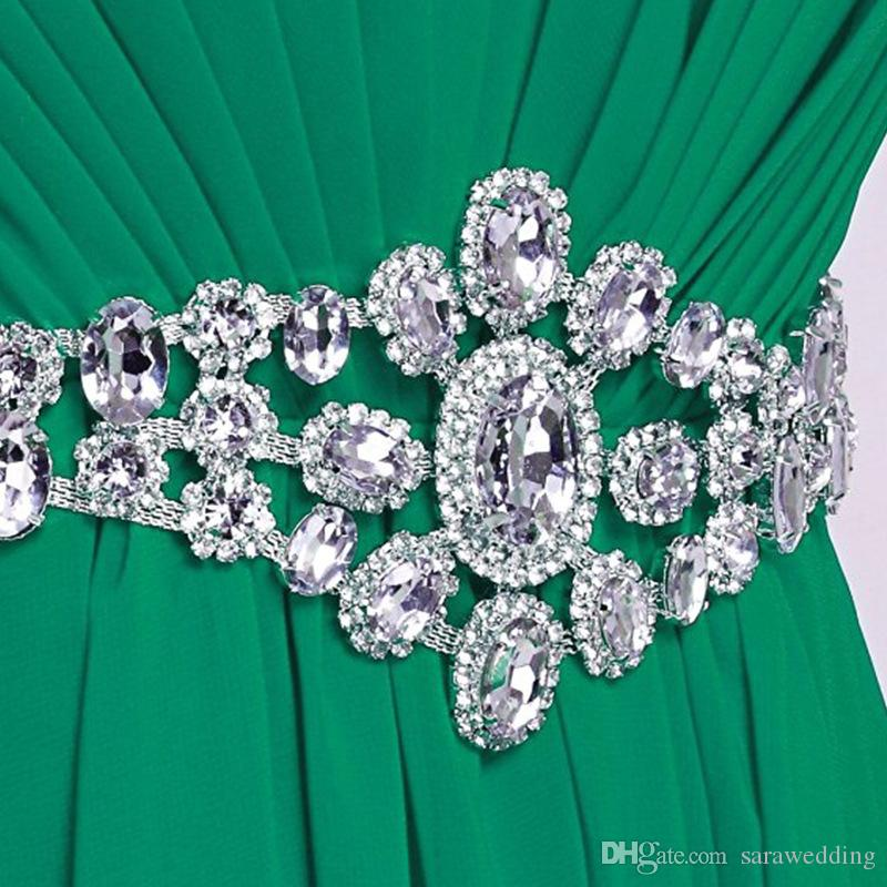 Chiffon Long Bridesmaid Dresses with Crystal Purple Black Dark Green 2019 Floor Length Party Dress Vestido Madrinha