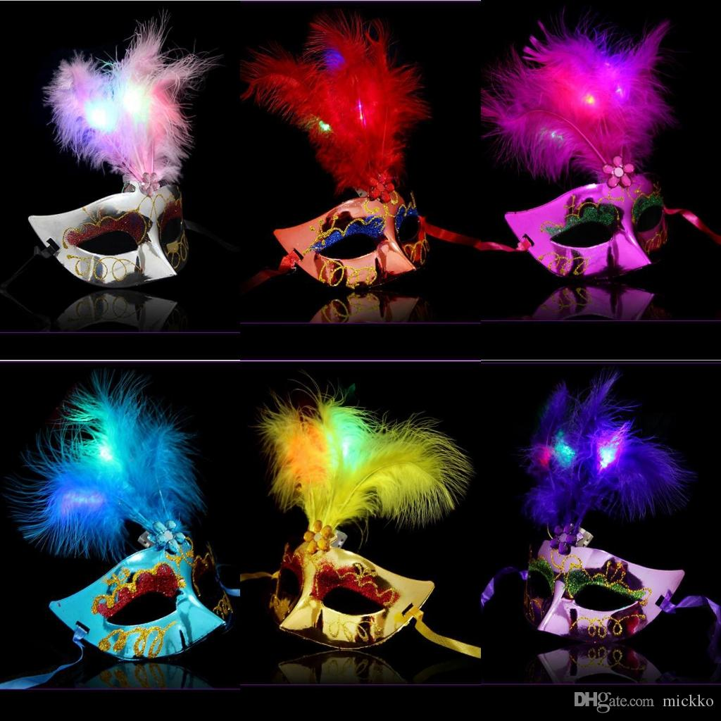 Women Glowing Feather Masks Masquerade Halloween Party Half Face ...