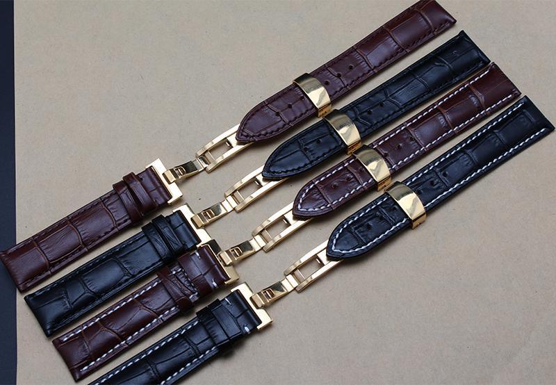 Neue Gold Schmetterling Faltschliessen Uhrenarmband 18mm 19mm 20mm 21mm 22mm Echtes Leder Uhr männer Riemen Armbänder Förderung