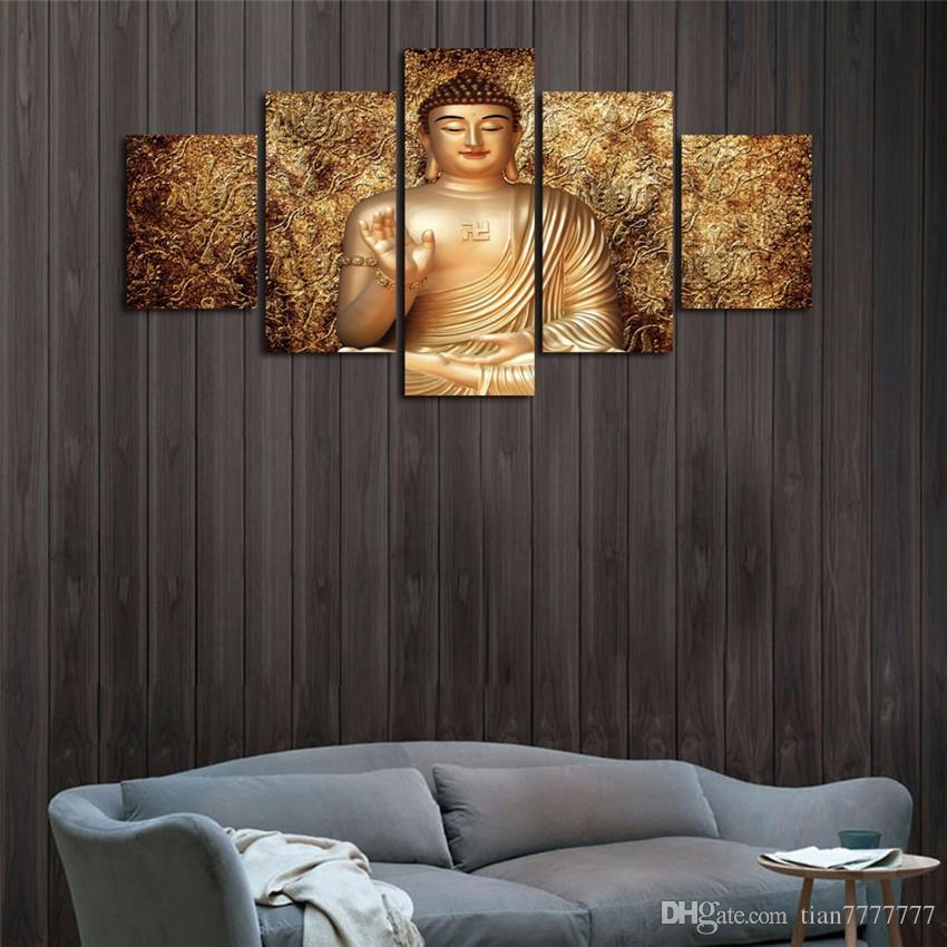 Yeni Altın Buda Zen Yağlıboya 5 Adet / takım Tuval Baskı Odası Posteri Resim Ev Duvar Dekor Için Hiçbir Çerçeve