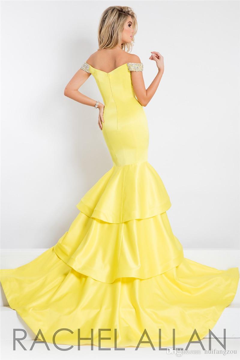 Rachel Allan Mermaid Prom Dresses Off spalla scollatura abiti da sera Split perline giallo chiaro abiti di promenade